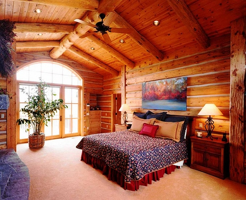 Luxury log homes for sale in michigan and washington for Log home master bedrooms
