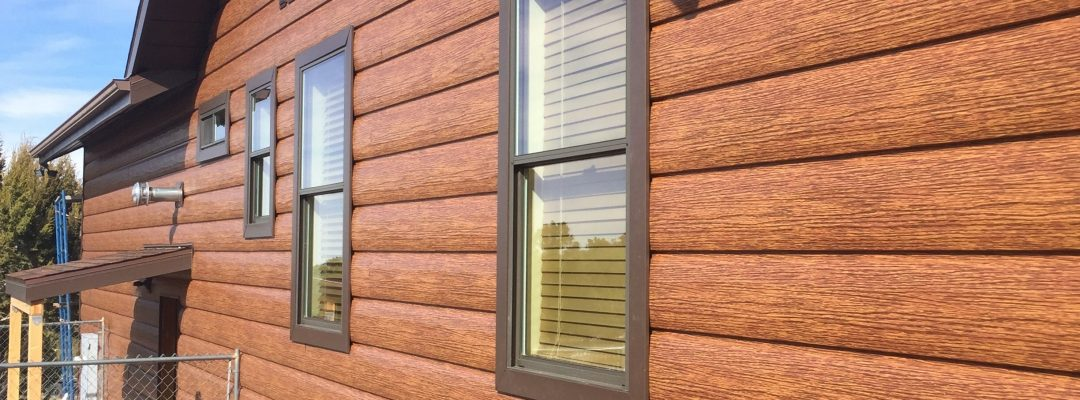Cedar log siding home steel that