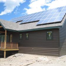 Log steel siding and solar panels