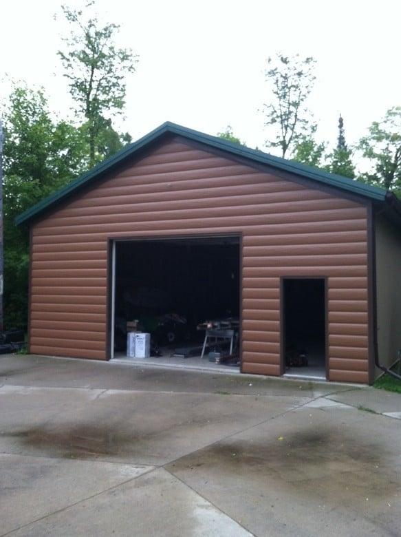 Log siding for storage sheds for E log siding