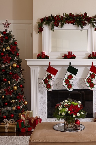 christmas fireplace decorations photo