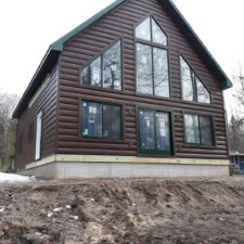 Dark Walnut Steel Log Siding